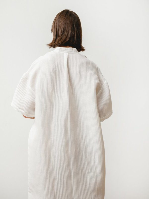 Priory Tenn Silk Linen Dress - White
