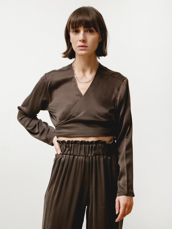 Priory Wrap Top - Sueded Silk Chocolate