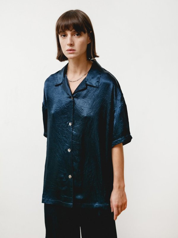 Priory Edition Shirt - Crushed Slinky Navy