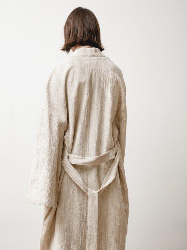 Priory Fan Robe - Natural Jacquard Cream
