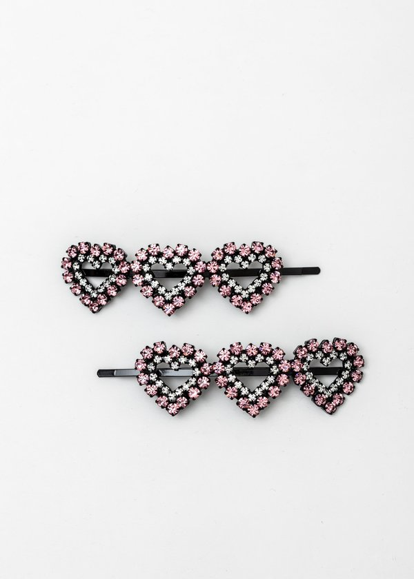 Ashley Williams Crystal Clear Three Hearts Hairpin - Pink