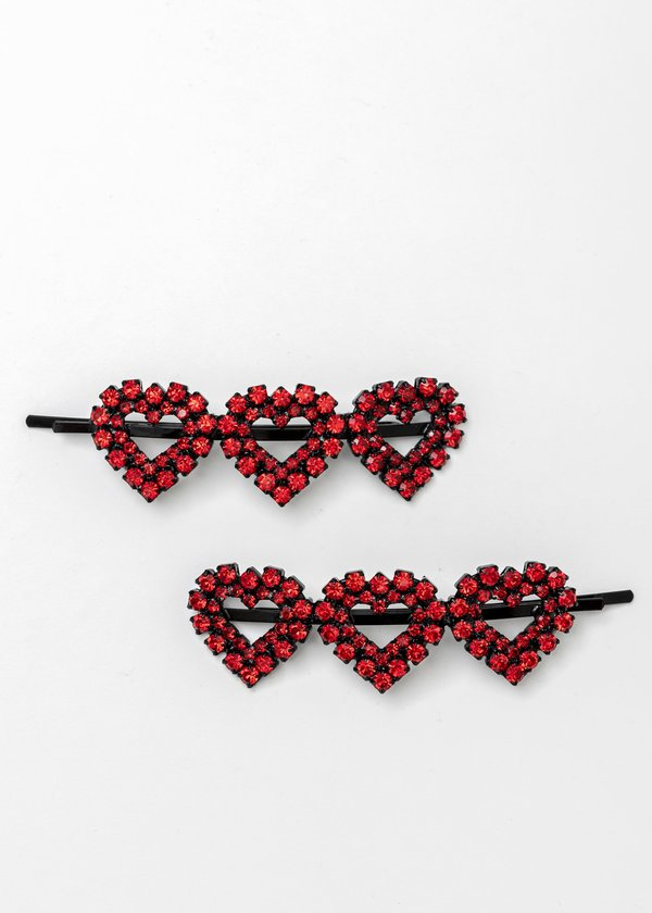 Ashley Williams  Crystal Three Hearts Hairpin - Red