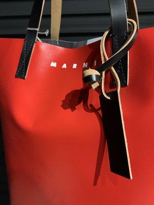 Marni PVC Tall Shopping Bag - Red/Gray