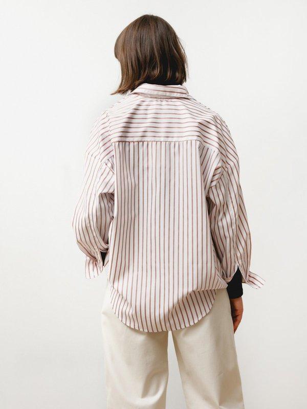 Priory Manga Shirt - Striped Poplin Nude/White
