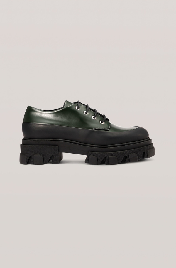Ganni Lug Sole Oxford - Dark Green