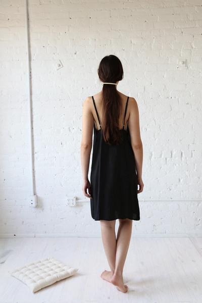 Elsa Esturgie Piano slip dress - black