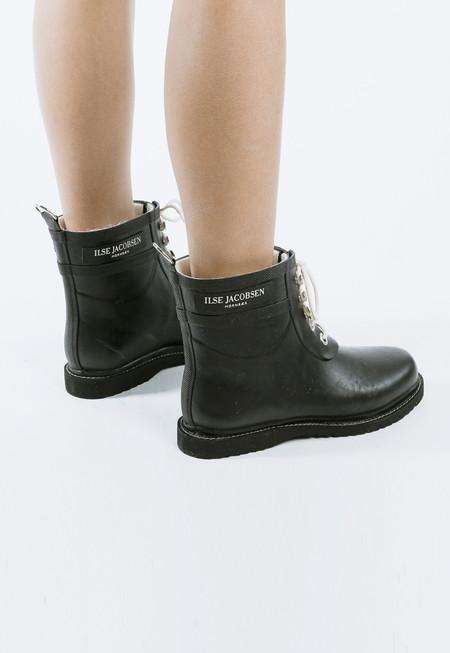 Ilse Jacobsen Lace Up Rain Boots - black