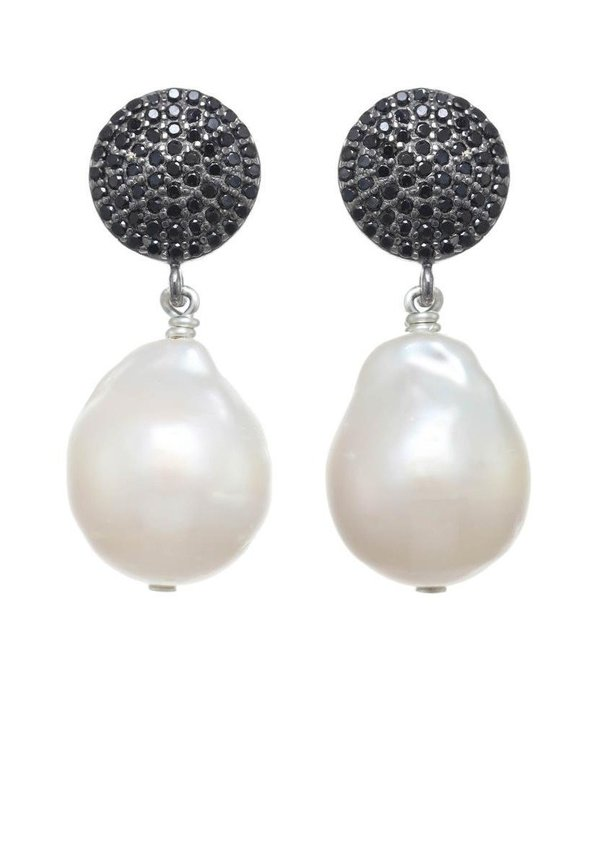 Margo Morrison Small Baroque Pearl and Spinel Earrings