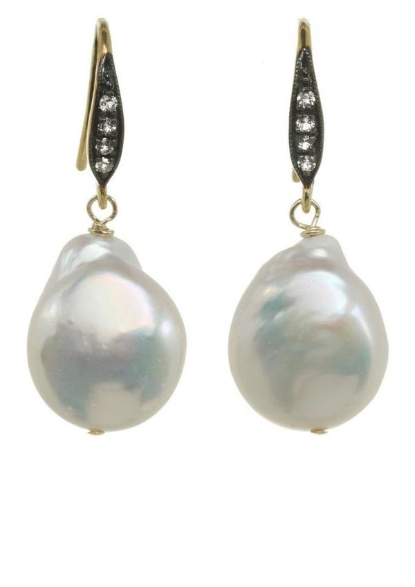 Margo Morrison Baroque Pearl/Sapphires Eaarings - White/White