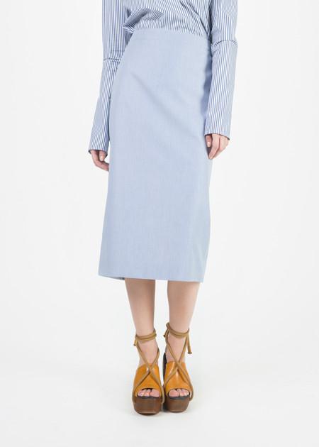 Organic by John Patrick Narrow Stripe Pencil Skirt - Blue/White