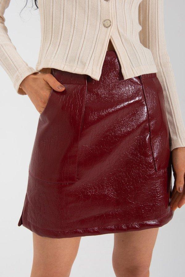 Limb The Label Nina Skirt - Crimson PVC