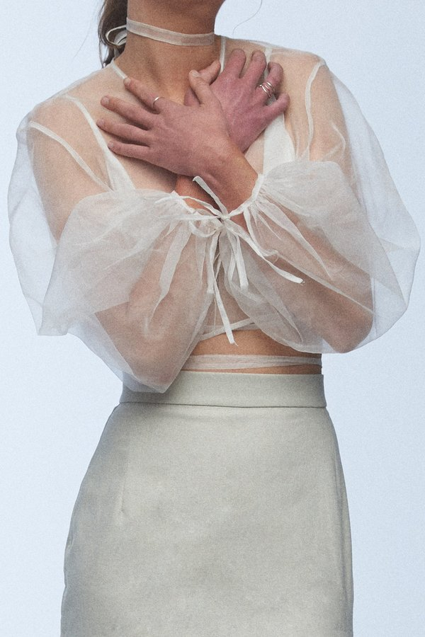 baaby Silk Organza Wrap Top - Ivory