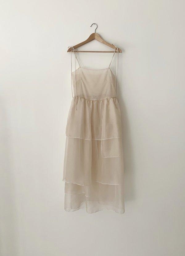 Kamperett Laurence Tiered Silk Organza Midi Dress - Ivory/White