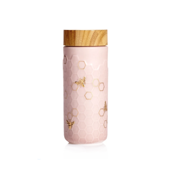 Acera Honey Bee Travel Mug - Pink/Gold