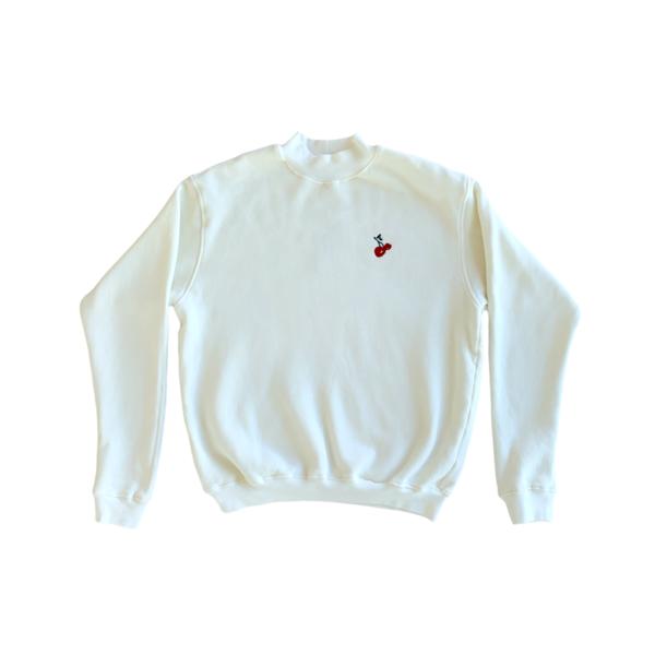 HVN Embroidered Cherry Mockneck sweater - White