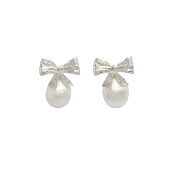Mirit Weinstock Bows & Drops Pearl Earrings - Silver