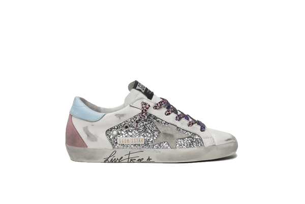 Golden Goose Super Star Glitter and Leather Upper Suede Star Live Free GWF00104.F000284.80287 sneakers - gray