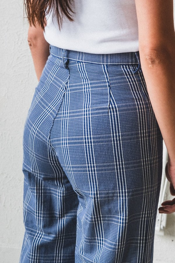Caron Callahan Stewart Pants - Navy Seersucker Plaid
