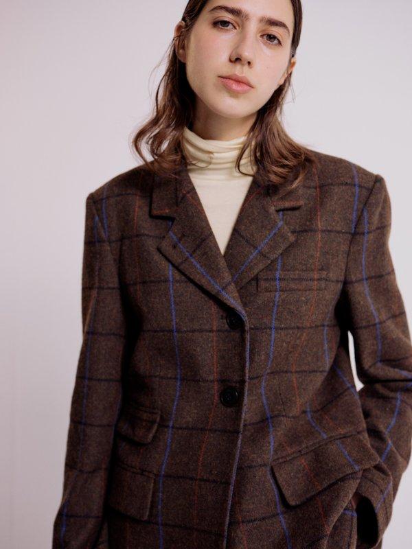 Mijeong Park Tailored Jacket - Brown Plaid