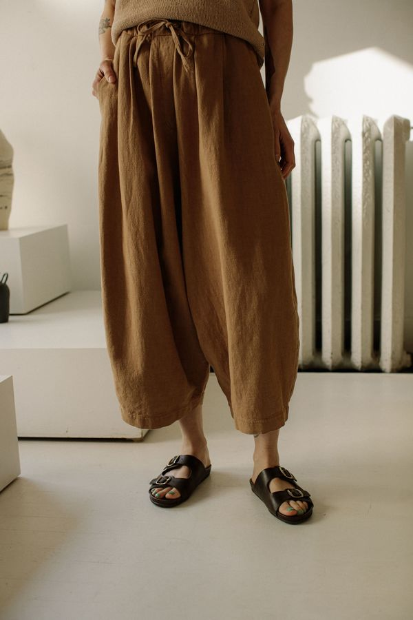 Monica Cordera Maxi Ramie Pants - Nougat