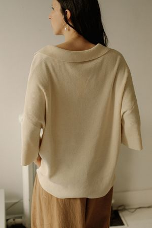 Monica Cordera Oversized Polo Shirt - Ivory, o/s