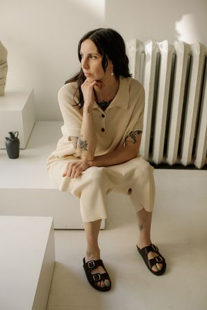 Monica Cordera Ribbed Knit Jumpsuit - Natural