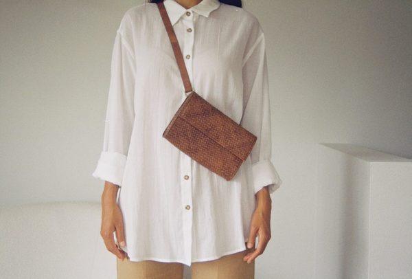 St. Agni Marcel Woven Belt Bag - Antique Tan