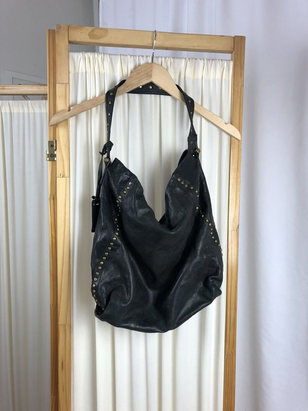[Pre-loved] Trask Studded Leather Tote - Black