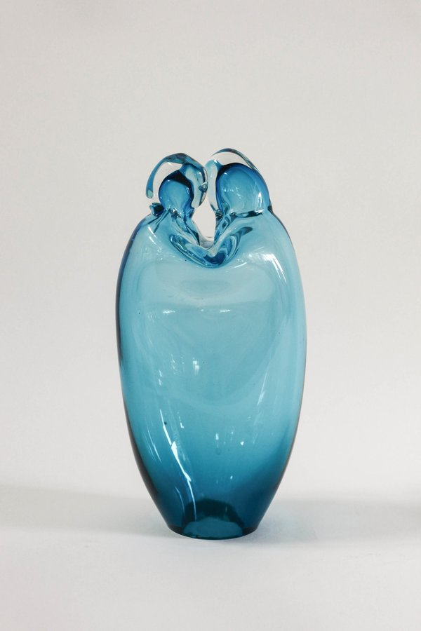 Pre-loved Leigh Collective Italian Lovers Art Glass Sculpture - Turqouise