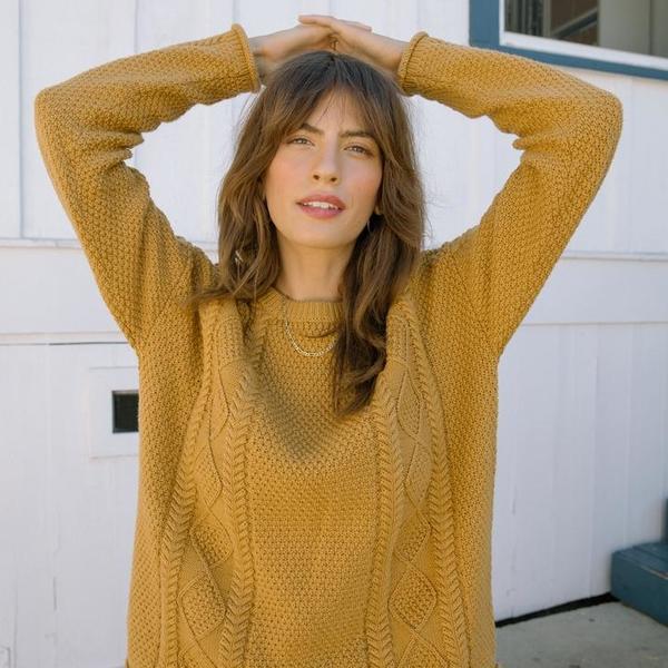 Tradlands Modern Fisher Cotton Sweater - YELLOW