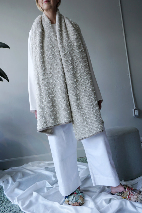 LAUREN MANOOGIAN ORU SCARF - WHITE COMBO