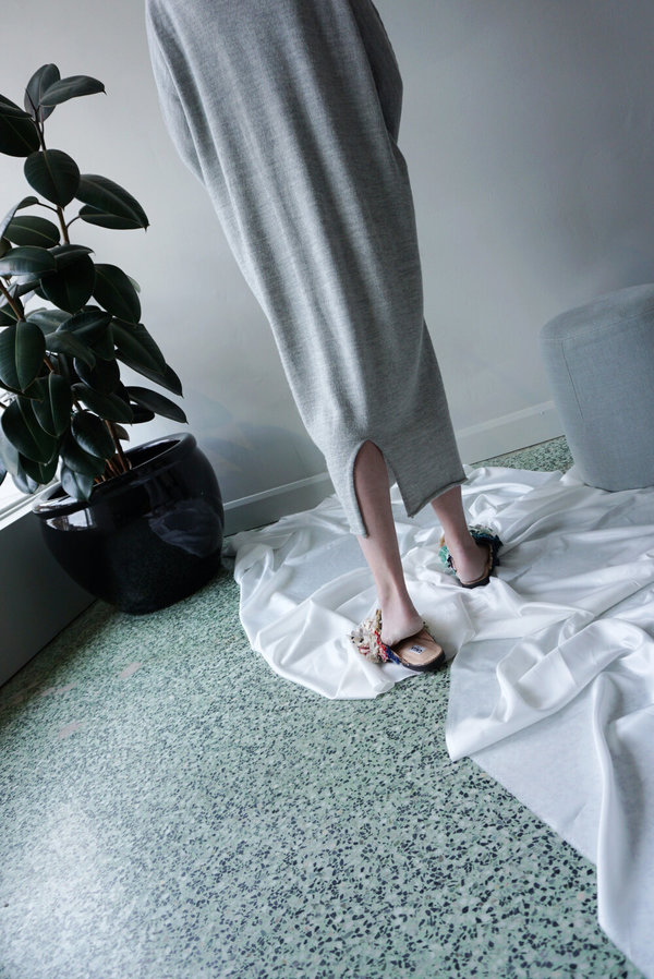LAUREN MANOOGIAN ROLL NECK DRESS - LIGHT GREY