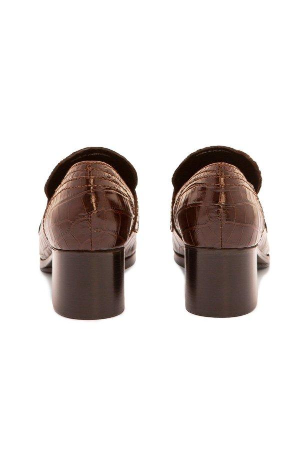 Nicole Saldana sage embossed calf loafers - chestnut