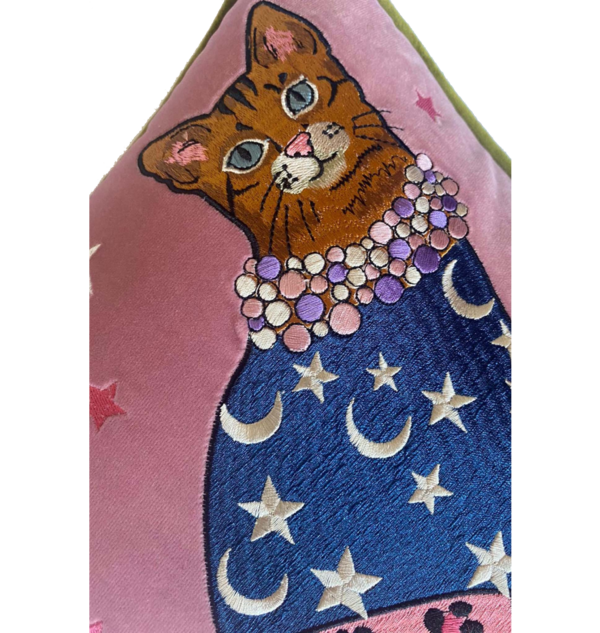 Karen Mabon Cat Embroidered Cushion - Moons