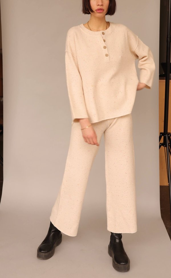 Lucca Couture Rye Speckle High Waist Sweater Knit Pants - Cream