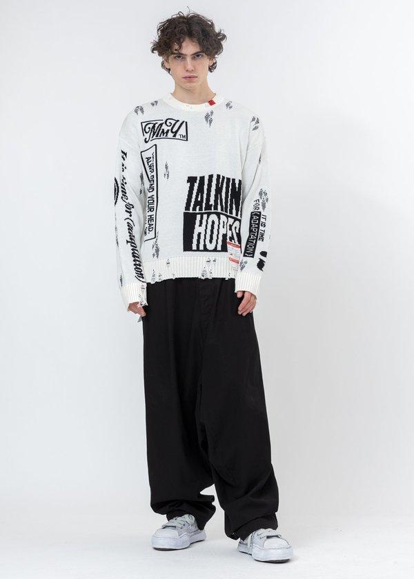 Mihara Yasuhiro Jacquard Knit Sweater - White