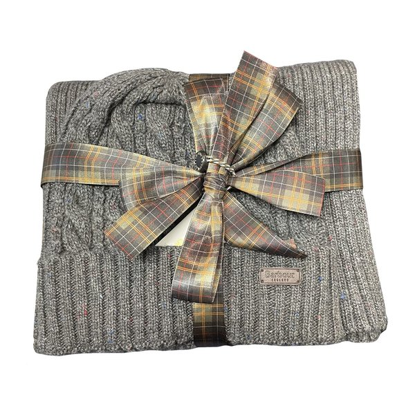 Barbour Cromer Beanie & Scarf Gift Set - Charcoal Grey
