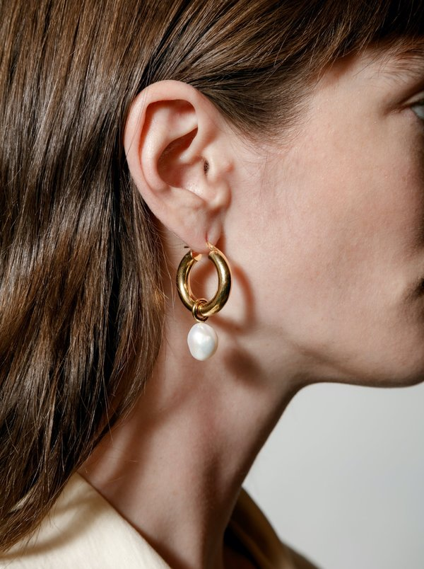 Wolf Circus Large Pearl Hoops - Gold