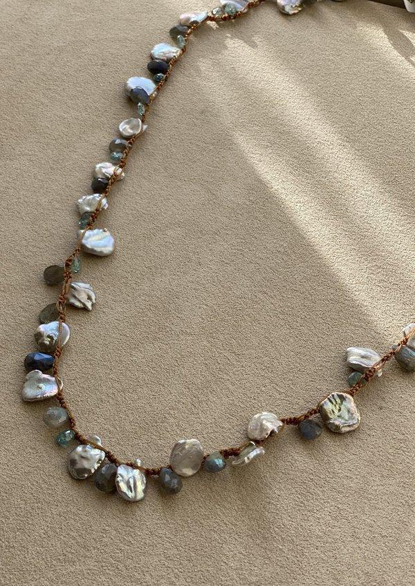 Lena Skadegard Keshi Pearl and Labradorite Necklace - Grey