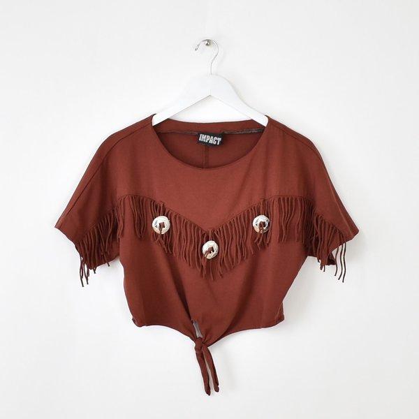 Vintage Western Concho Crop Top - Rust