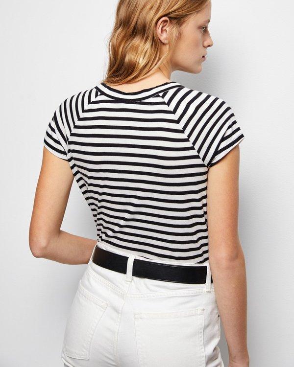 Nili Lotan Short Sleeve Baseball Tee - Black/White Stripe