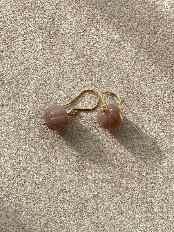 Lena Skadegard Carved Moonstone Earrings - 18k/Pink