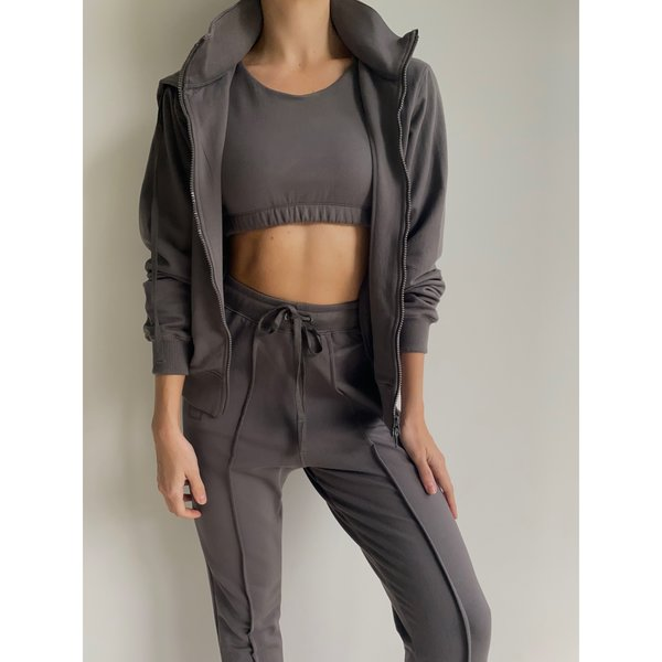 French Terry Crop Tank in Pavement Grey