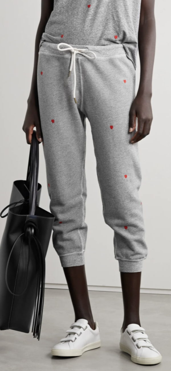 The Great. The Cropped Sweat Pant W/Heart Embroidery