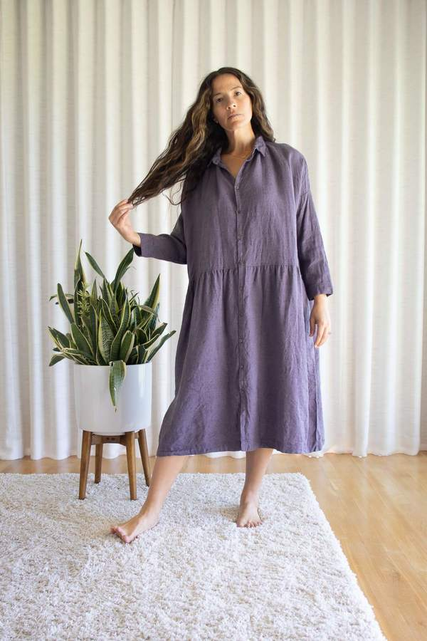 Ichi Antiquités Lavender Twill Tumbler Dress