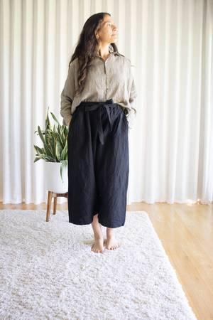 ICHI ANTIQUITES Linen Azumadak Stripe Shirt - Beige