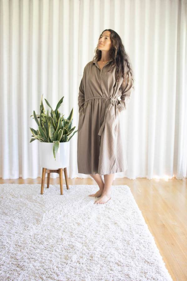 ICHI ANTIQUITES Silk/Linen Dress - Sand Beige