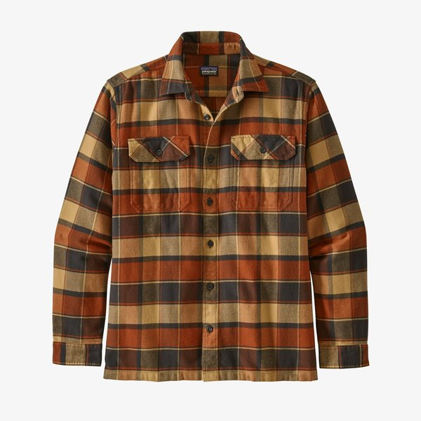 Patagonia Men's Long-Sleeved Fjord Flannel Shirt - Plots/Burnished Red