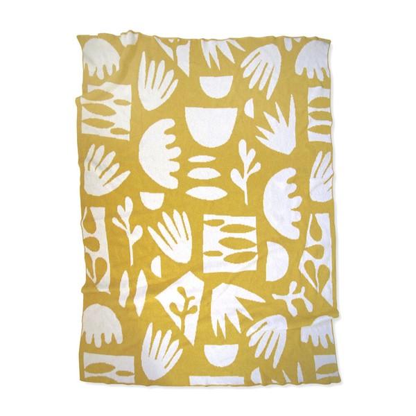 Happy Habitat Succulents Citrine Knit Throw Blanket - Yellow/white