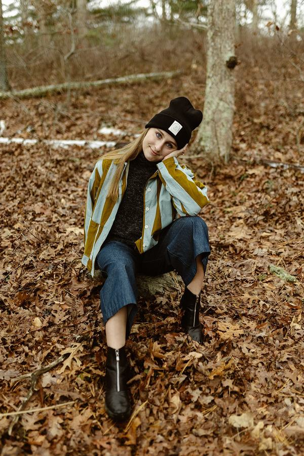 Conrado Nicole Painter Chore Corduroy Jacket - Blue/Green Stripe